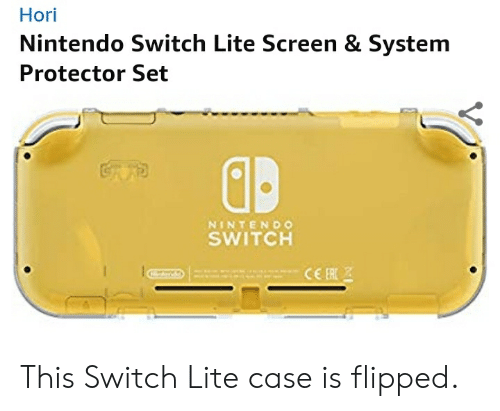Nintendo, Switch, and Case: Hori  Nintendo Switch Lite Screen & System  Protector Set  GRAB  NINTENDO  SWITCH  CER This Switch Lite case is flipped.