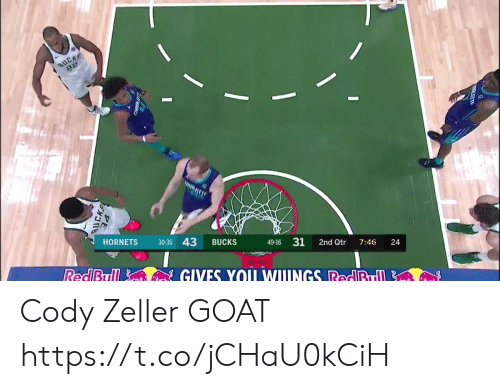 Basketball, White People, and Goat: HORNETS 30-35 43 BUCKS  49-16 31 2nd Qtr 7:46 24 Cody Zeller GOAT https://t.co/jCHaU0kCiH