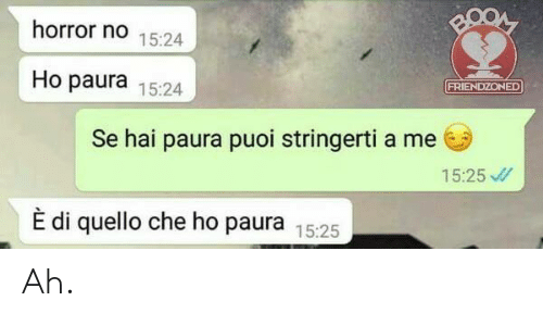Italian (Language), Horror, and Che: horror no 15:24  Ho paura 15:24  FRIENDZONED  Se hai paura puoi stringerti a me  15:25  È di quello che ho paura 15:25 Ah.
