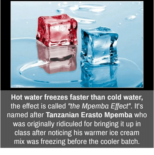 ridiculed: Hot water freezes faster than cold water,  the effect is called 'the Mpemba Effect'. It's  named after Tanzanian Erasto Mpemba who  was originally ridiculed for bringing it up in  class after noticing his warmer ice cream  mix was freezing before the cooler batch.