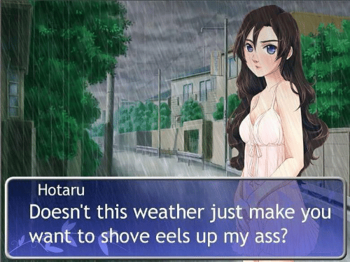 Ass, Weather, and Eels: Hotaru  Doesn't this weather just make you  want to shove eels up my ass?
