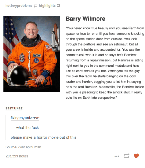 """the commander: hotboy problems  highlights  Barry Wilmore  """"You never know true beauty until u see Earth from  you space, or true terror until you hear someone knocking  on the space station door from outside. You look  through the porthole and see an astronaut, but all  your crew is inside and accounted for. You use the  comm to ask who it is and he says he's Ramirez  returning from a repair mission, but Ramirez is sitting  right next to you in the command module and he's  just as confused as you are. When you tell the guy  this over the radio he starts banging on the door  louder and harder, begging you to let him in, saying  he's the real Ramirez. Meanwhile, the Ramirez inside  with you is pleading to keep the airlock shut. It really  puts life on Earth into perspective.""""  saintlukas  fixingmyuniverse  what the fuck  please make a horror movie out of this  Source: concepthuman  293,599 notes"""