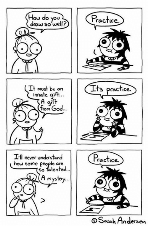 God, Memes, and Never: Hou do you  draw so well?  Practice  It must be an  innate aift.  Its practice.  fom God  I-ll never understand  how  Practice  some people are  so talented..  mys  Sarah Andersen