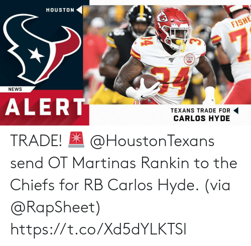 Houston: HOUSTON  FISHE  7  24  NEWS  ALERT  TEXANS TRADE FOR  CARLOS HYDE TRADE! 🚨  @HoustonTexans send OT Martinas Rankin to the Chiefs for RB Carlos Hyde. (via @RapSheet) https://t.co/Xd5dYLKTSl