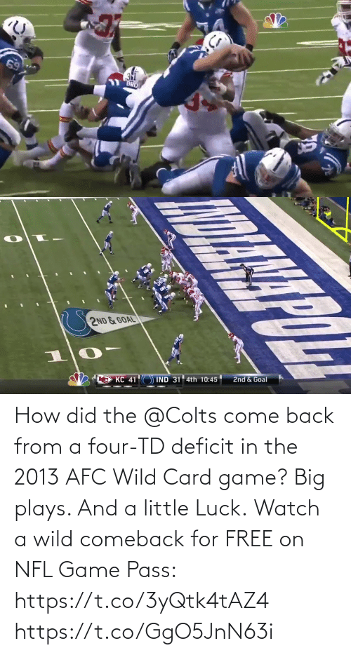 Wild: How did the @Colts come back from a four-TD deficit in the 2013 AFC Wild Card game?  Big plays. And a little Luck.  Watch a wild comeback for FREE on NFL Game Pass: https://t.co/3yQtk4tAZ4 https://t.co/GgO5JnN63i