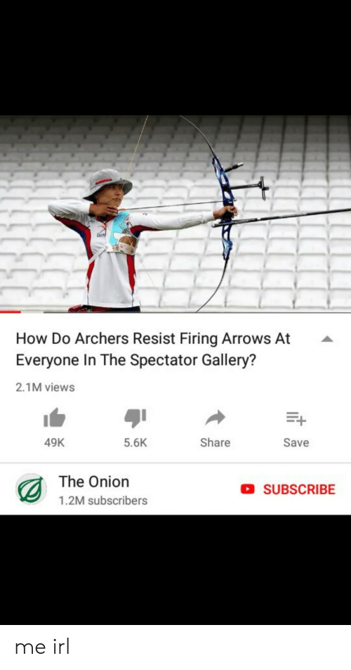 Arrows: How Do Archers Resist Firing Arrows At  Everyone In The Spectator Gallery?  2.1M views  49K  5.6K  Share  Save  The Onion  1.2M subscribers  SUBSCRIBE me irl