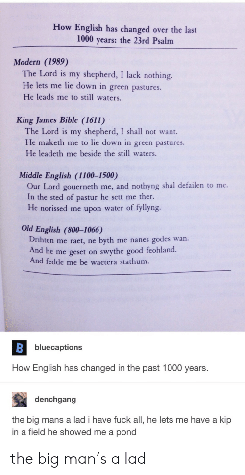 old english: How English has changed over the last  1000 years: the 23rd Psalm  Modern (1989)  The Lord is my shepherd, I lack nothing.  He lets me lie down in green pastures.  He leads me to still waters.  King James Bible (1611)  The Lord is my shepherd, I shall not want.  He maketh me to lie down in green pastures.  He leadeth me beside the still waters.  Middle English (1100-1500)  Our Lord gouerneth me, and nothyng shal defailen to me.  In the sted of pastur he sett me ther.  He norissed me upon water of fyllyng.  Old English (800-1066)  Drihten me raet, ne byth me nanes godes wan.  And he me geset on swythe good feohland  And fedde me be waetera stathum.  bluecaptions  How English has changed in the past 1000 years.  denchgang  the big mans a lad i have fuck all, he lets me have a kip  in a field he showed me a pond the big man's a lad
