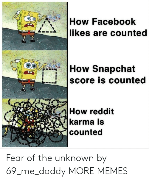 Dank, Facebook, and Memes: How Facebook  likes are counted  How Snapchat  score is counted  How reddit  karma is  counted Fear of the unknown by 69_me_daddy MORE MEMES