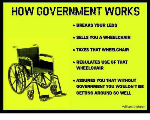 assuring: HOW GOVERNMENT WORKS  e BREAKS YOUR LEGS  e SELLS YOU A WHEELCHAIR  e TAXES THAT WHEELCHAIR  e REGULATES USEOF THAT  WHEELCHAIR  ASSURES YOU THAT WITHOUT  GOVERNMENT YOU WOULDNT BE  GETTING AROUND SO WELL  William De Burgh