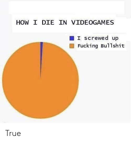 Fucking, True, and Bullshit: HOW I DIE IN VIDEOGAMES  I Screwed up  Fucking Bullshit True