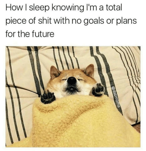 Future, Goals, and Shit: How I sleep knowing I'm a total  piece of shit with no goals or plans  for the future