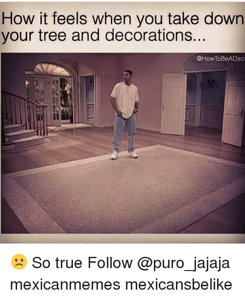 Memes, True, and Tree: How it feels when you take down  your tree and decorations  @How ToBeADad ☹️ So true Follow @puro_jajaja mexicanmemes mexicansbelike