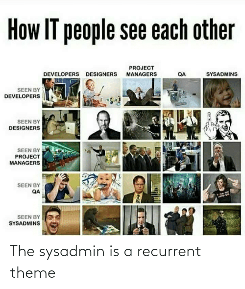 sysadmins: How IT people see each other  PROJECT  MANAGERS  SYSADMINS  DEVELOPERS DESIGNERS  QA  SEEN BY  DEVELOPERS  SEEN BY  DESIGNERS  SEEN BY  PROJECT  MANAGERS  SEEN BY  QA  AMD US  SEEN BY  SYSADMINS The sysadmin is a recurrent theme