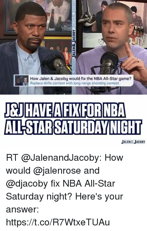 NBA All-Star Game: How Jalen & Jacoby would fix the NBA All-Star game?  Replace skills contest with long-range shooting contest  ALL-STAR SATURDAY NIGHT  JALEN& JACOBY RT @JalenandJacoby: How would @jalenrose and @djacoby fix NBA All-Star Saturday night?   Here's your answer: https://t.co/R7WtxeTUAu