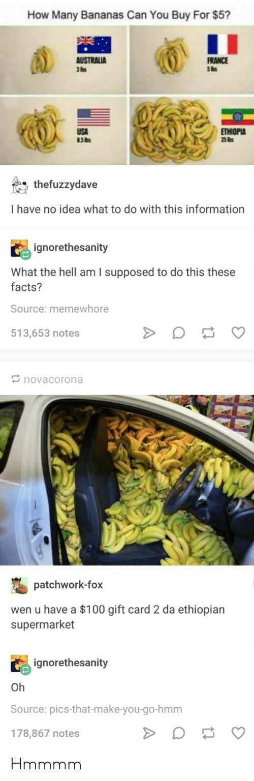 Anaconda, Facts, and France: How Many Bananas Can You Buy For $5?  FRANCE  Sas  3lbs  THIOPIA  thefuzzydave  I have no idea what to do with this information  ignorethesanity  What the hell am I supposed to do this these  facts?  Source: memewhore  513,653 notes  novacorona  patchwork-fox  wen u have a $100 gift card 2 da ethiopian  supermarket  ignorethesanity  Oh  Source: pics-that-make-you-go-hmm  178,867 notes Hmmmm
