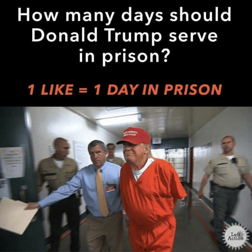 Donald Trump, Prison, and Trump: How many days should  Donald Trump serve  in prison?  I LIKE = 1 DAY IN PRISON  Left  Action