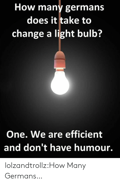 Tumblr, Blog, and Change: How many germans  does it take to  change a light bulb?  One. We are efficient  and don't have humour. lolzandtrollz:How Many Germans…