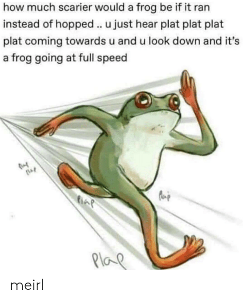 Plat: how much scarier would a frog be if it ran  instead of hopped.. u just hear plat plat plat  plat coming towards u and u look down and it's  a frog going at full speed  Plo meirl