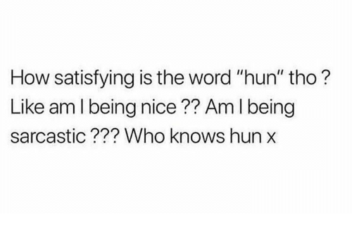 """Memes, Word, and Nice: How satisfying is the word """"hun"""" tho?  Like am l being nice?? Am I being  sarcastic??? Who knows hun"""