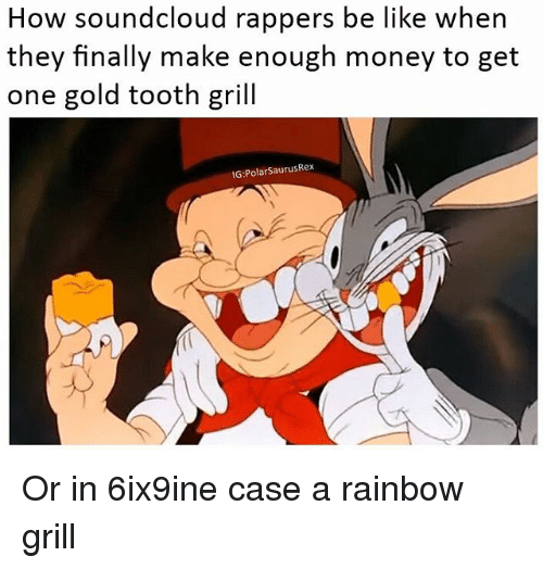 Soundclouder: How soundcloud rappers be like when  they finally make enough money to get  one gold tooth gril  G:PolarSaurusRex Or in 6ix9ine case a rainbow grill
