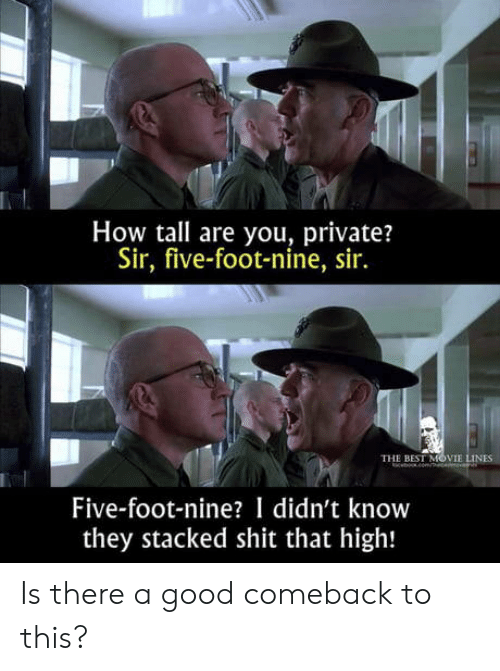 Shit, Best, and Good: How tall are you, private?  Sir, five-foot-nine, sir.  THE BEST MOVIE LINES  beomce  Five-foot-nine? I didn't know  they stacked shit that high! Is there a good comeback to this?