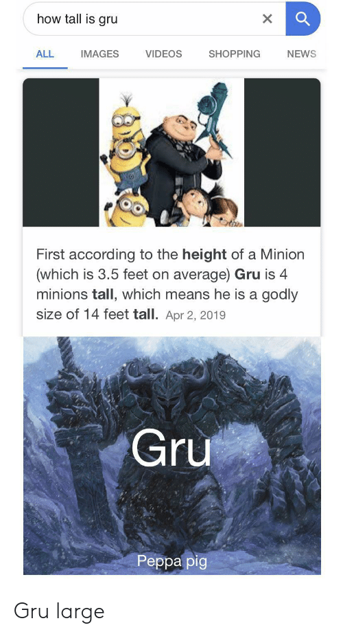 The Height Of: how tall is gru  X  VIDEOS  ALL  SHOPPING  NEWS  IMAGES  First according to the height of a Minion  (which is 3.5 feet on average) Gru is 4  minions tall, which means he is a godly  size of 14 feet tall. Apr 2, 2019  Gru  Реpра pig Gru large