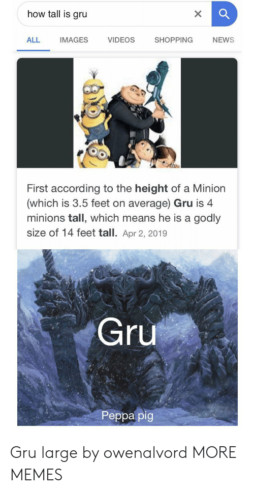 Gru: how tall is gru  X  VIDEOS  ALL  SHOPPING  NEWS  IMAGES  First according to the height of a Minion  (which is 3.5 feet on average) Gru is 4  minions tall, which means he is a godly  size of 14 feet tall. Apr 2, 2019  Gru  Реpра pig Gru large by owenalvord MORE MEMES