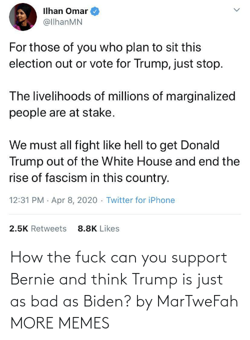 Bernie: How the fuck can you support Bernie and think Trump is just as bad as Biden? by MarTweFah MORE MEMES