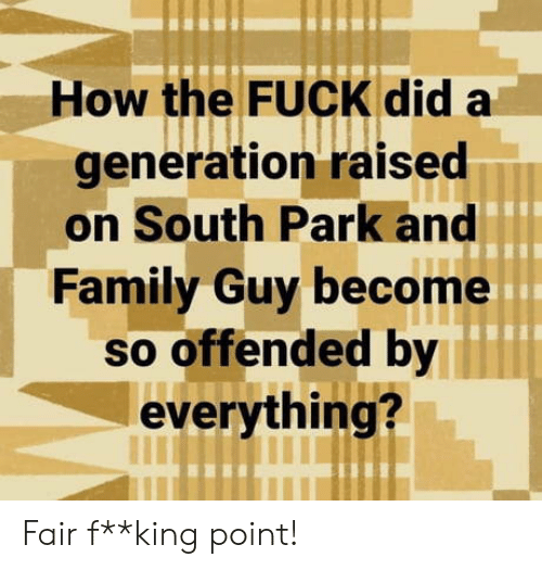 Family, Family Guy, and South Park: How the FUCK did a  generation raised  on South Park and  Family Guy become  so offended by  everything? Fair f**king point!