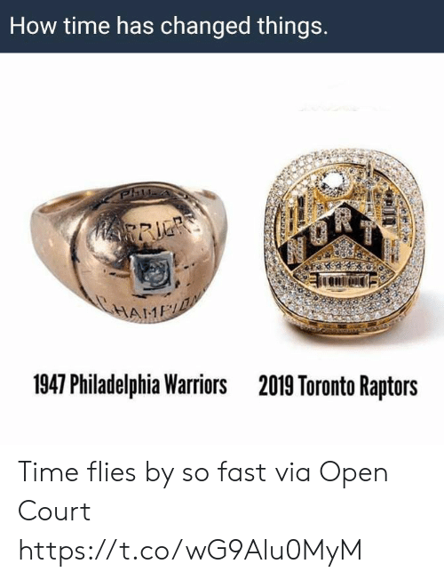 Toronto Raptors, Philadelphia, and Time: How time has changed things.  HRRIE  HAME  1947 Philadelphia Warriors  2019 Toronto Raptors Time flies by so fast   via Open Court https://t.co/wG9Alu0MyM
