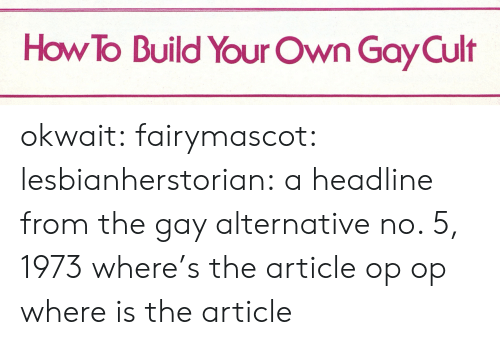 Build Your: How To Build Your Own Gay Cult okwait: fairymascot:  lesbianherstorian:  a headline from the gay alternative no. 5, 1973  where's the article op  op where is the article