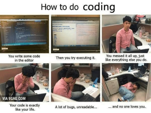 9gag, Life, and How To: How to do coding  sniamaRMA  You messed it all up, just  like everything else you do.  You write some code  in the editor  Then you try executing it.  VIA 9GAG.COM  Your code is exactly  like your life  ... and no one loves you.  A lot of bugs, unreadable...