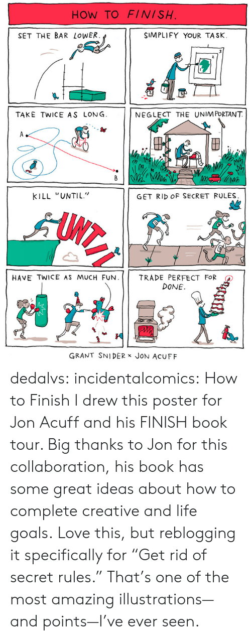 """collaboration: HOW TO FINISH  SET THE BAR LoWER  SIMPLIFY YOUR TASK.  TAKE TWICE AS LONG  NEGLECT THE UNIM PORTANT  S&  (n  Wh  KILL """"UNTIL""""  GET RID OF SECRET RULES  HAVE TWICE AS MUCH FUN. 