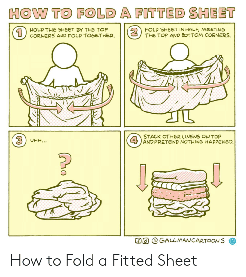 stack: HOW TO FOLD A FITTED SHEET  2  FOLD SHEET IN HALF, MEETING  THE TOP AND BOTTOM CORNERS  HOLD THE SHEET BY THE TOP  CORNERS AND FOLD TOGETHER  1  STACK OTHER LINENS ONTOP  4AND PRETEND NOTHING HAPPENED.  3UHH...  GALLMANCARTOONS How to Fold a Fitted Sheet
