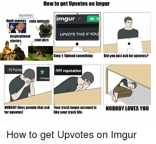 nobody love: How to get Upvotes on Inngur  Ingredients:  imgur  v N  dank memes cute animals  UPVOTE THIS IF YOU  Inspirational  cool pics  stories  Step 1: Upload something  Did you just ask for upvotes?  -19 Points  -999 reputation  -19 Points  NOBODYlikes people that ask Your trash Imgur account is  NOBODY LOVES YOU  for up votes!  like your trash life. How to get Upvotes on Imgur