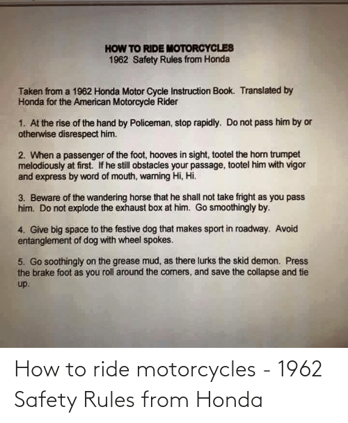 Safety: How to ride motorcycles - 1962 Safety Rules from Honda