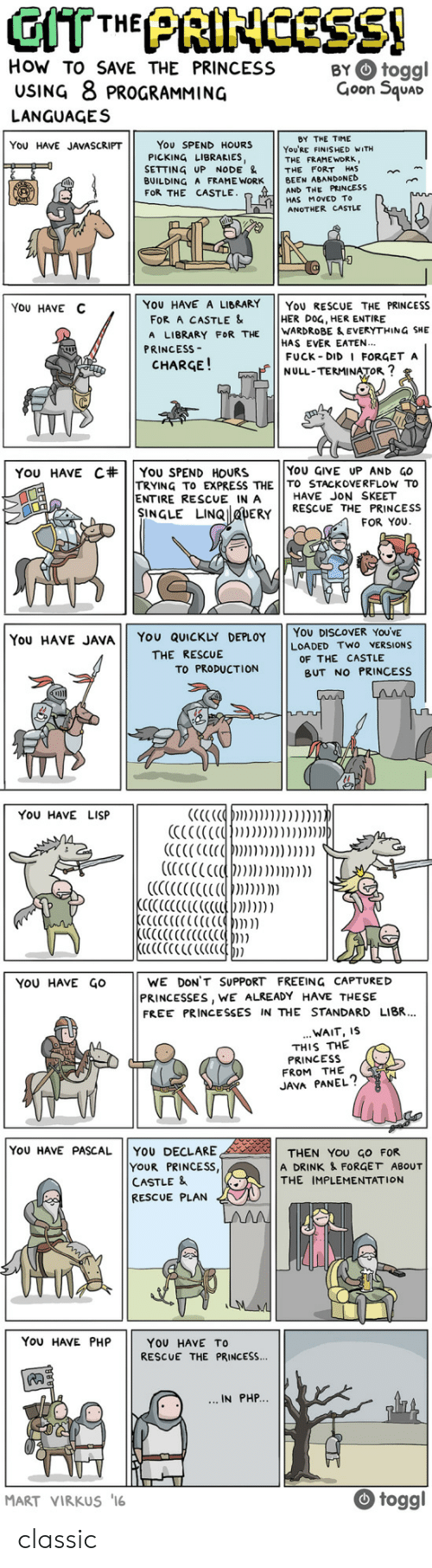 loaded: How TO SAVE THE PRINCESS BYtoggl  USING 8 PROGRAMMING  Goon 5quac  LANGUAGES  BY THE TIME  YoU'RE FINISHED WITH  THE FRAME WORK,  You SPEND HOURS  PICKING LIBRARIES,  SETTING UP NODE & THE FORT HAS  BUILDING A FRAME WORK BEEN ABANDONED  FOR THE CASTLE  YOU HAVE JAVASCRIPT  AND THE PRINCESS  HAS MoVED To  ANOTHER CASTLE  YoU HAVE C  YOU HAVE A LIBRARY YoU RESCUE THE PRINCESS  FOR A CASTLE &  A LIBRARY FOR THE WARDROBE & EVERYTHING SHE  HER DOG, HER ENTIRE  HAS EVER EATEN..  FUCK DID I FORGET A  NULL-TERMINATOR  PRINCESs-  CHARGE!  YOU GIVE UP AND GO  TRYING TO EXPRESS THE TO STACKOVERFLOw To  YOU HAVE C#| | You SPEND HOURS  ENTIRE RESCUE IN A  HAVE JON SKEET  NGLE LINQ DERY RESCUE THE PRINCESS  FOR YOU  You HAVE JAVA YOU QUICKLY DEPLOY YOU DISCOVER YOUVE  LOADED TWO VERSIONS  THE RESCUE  OF THE CASTLE  PRODUCTION BUT NO  BUT NO PRINCESS  YOU HAVE LISP  YoU HAvE GOWE DON'T SUPPORT FREEING CAPTURED  PRINCESSES, WE ALREADY HAVE THESIE  FREE PRINCESSES IN THE STANDARD LIBR.  WAIT, IS  THIS THE  PRINCESS  FROM THE  JAVA PANEL?  YoU HAVE PASCAL YOU DECLARE  YOUR PRINCESS  CASTLE &  RESCUE PLAN  THEN YOU GO FOR  A DRINK & FORGET ABOUT  THE IMPLEMENTATION  You HAVE PHP  YOU HAVE TO  RESCUE THE PRINCESS...  IN PHP  MART VIRKUS 16  togg classic
