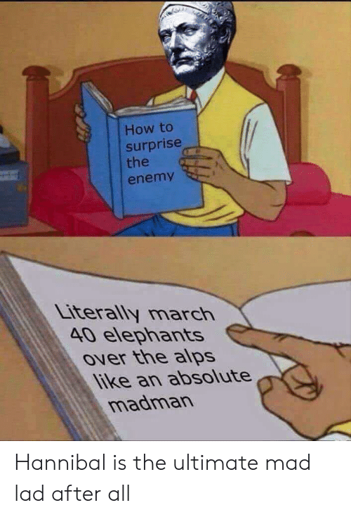 How To, Mad, and Elephants: How to  surprise  the  enemy  Literally march  40 elephants  Over the alps  like an absolute  madman Hannibal is the ultimate mad lad after all