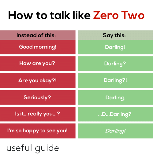 Anime, Zero, and Good Morning: How to talk like Zero Two  Say this:  Instead of this:  Good morning!  Darling!  How are you?  Darling?  Darling?!  Are you okay?!  Seriously?  Darling.  ...D...Darling?  Is it...really you...?  I'm so happy to see you!  Darling! useful guide