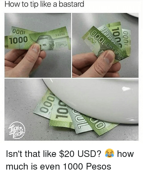 Bastardization: How to tip like a bastard  1000 Isn't that like $20 USD? 😂 how much is even 1000 Pesos