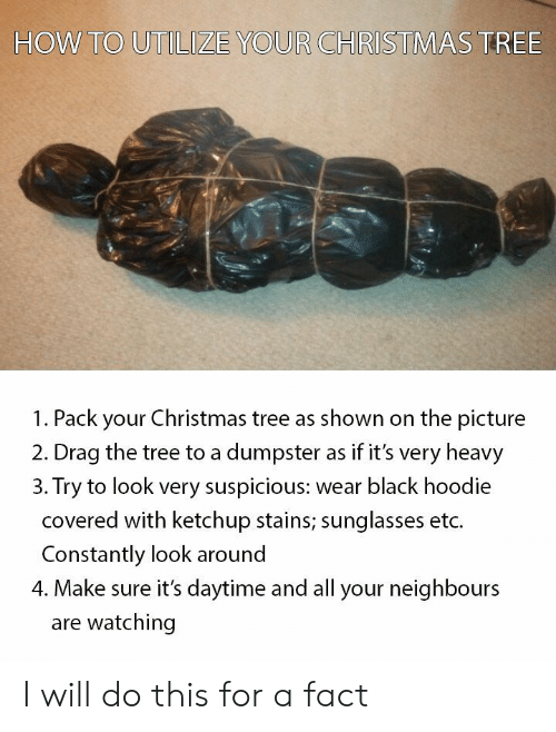 utilize: HOW TO UTILIZE YOUR CHFISTMAS TREE  1. Pack your Christmas tree as shown on the picture  2. Drag the tree to a dumpster as if it's very heavy  3. Try to look very suspicious: wear black hoodie  covered with ketchup stains; sunglasses etc.  Constantly look around  4. Make sure it's daytime and all your neighbours  are watching I will do this for a fact