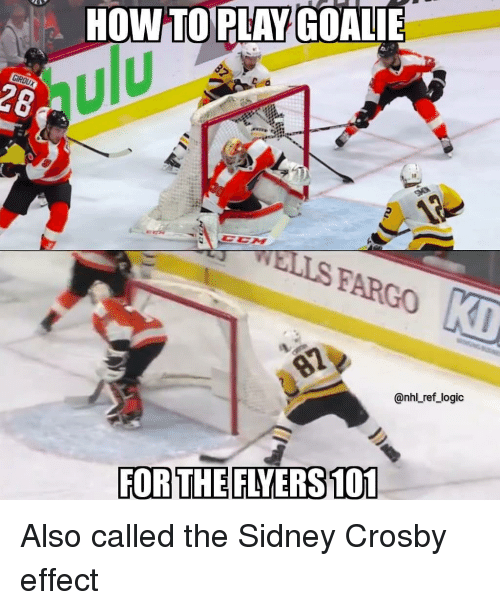 Fargo: HOW TOPLAY GOALIE  ulu  28  WELLS FARGO  @nhl ref_logic  FOR THE FLYERS 101 Also called the Sidney Crosby effect