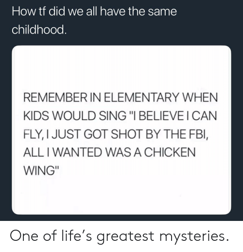 "i can fly: How tt did we all have the same  childhood.  REMEMBER IN ELEMENTARY WHEN  KIDS WOULD SING ""I BELIEVE I CAN  FLY, I JUST GOT SHOT BY THE FBl,  ALL I WANTED WAS A CHICKEN  WING"" One of life's greatest mysteries."