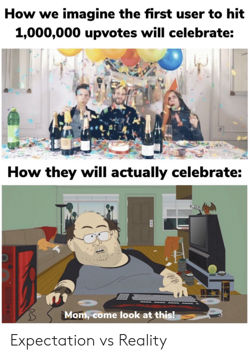 Vs Reality: How we imagine the first user to hit  1,000,000 upvotes will celebrate:  How they will actually celebrate:  Mom, come look at this! Expectation vs Reality