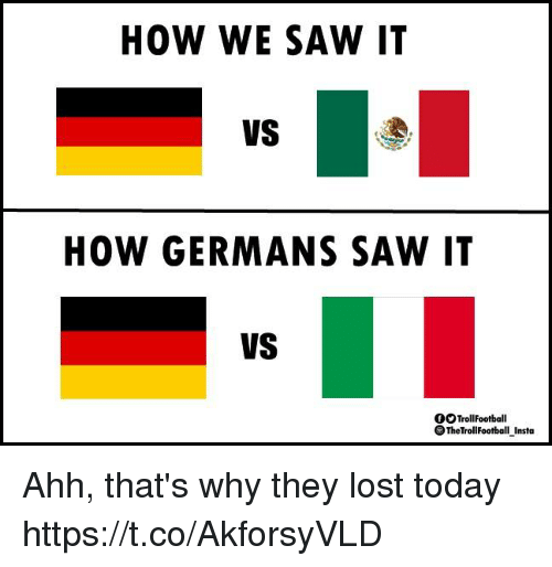 Memes, Saw, and Lost: HOW WE SAW I1  VS  HOW GERMANS SAW IT  VS  OTrollFootball  TheTrollFootbal Insta Ahh, that's why they lost today https://t.co/AkforsyVLD