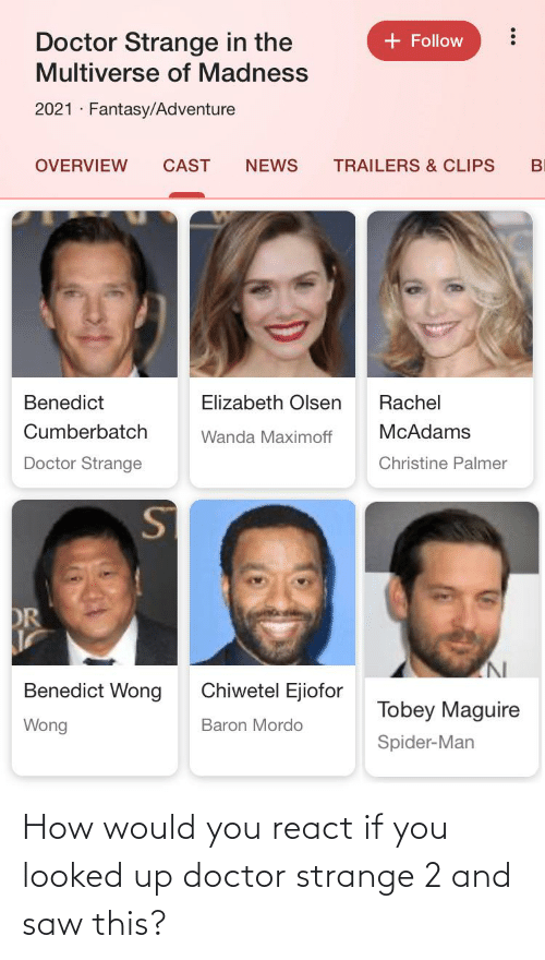 You Looked: How would you react if you looked up doctor strange 2 and saw this?