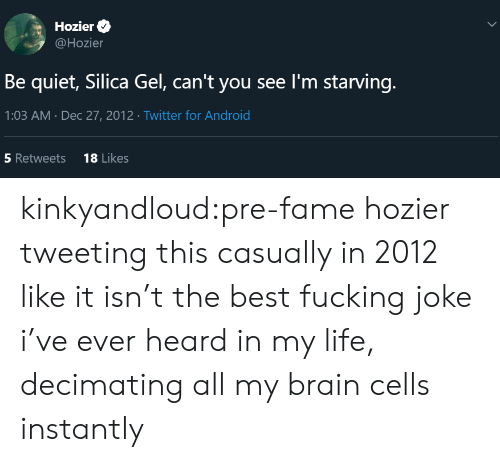brain cells: Hozier  @Hozier  Be quiet, Silica Gel, can't you see I'm starving.  1:03 AM Dec 27, 2012 Twitter for Android  18 Likes  5 Retweets  > kinkyandloud:pre-fame hozier tweeting this casually in 2012 like it isn't the best fucking joke i've ever heard in my life, decimating all my brain cells instantly