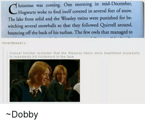 Bounc: hristmas was coming. One morning in mid-December  Hogwarts woke to find itself covered in several feet of snow.  The lake froze solid and the Weasley twins were punished for be-  witching several snowballs so that they followed Quirrell around,  bouncing off the back of his turban. The few owls that managed to  ronal dw as  Casual holiday reminder that the Weasley twins once bewitched snowballs  to repeatedly hit Voldemort in the face ~Dobby