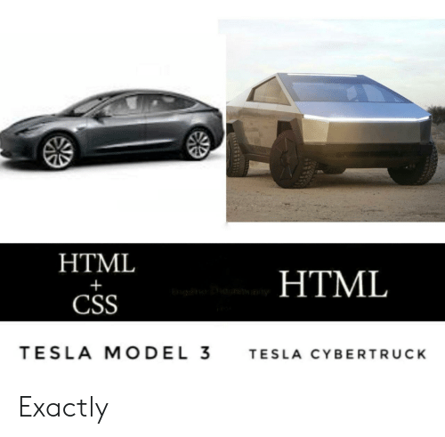 Tesla, Html, and Css: HTML  HTML  CSS  TESLA MODEL 3  TESLA CYBERTRUCK Exactly