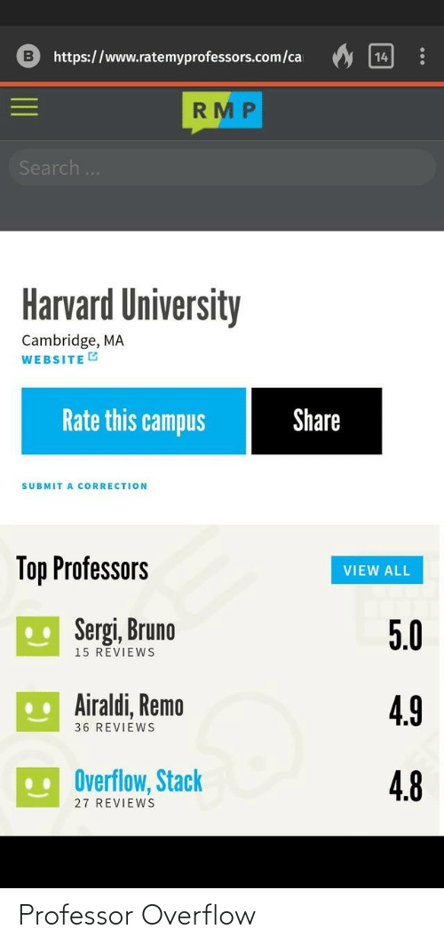 Harvard University, Harvard, and Search: https://www.ratemyprofessors.com/ca  14  RMP  Search..  Harvard University  Cambridge, MA  WEBSITE G  Rate this campus  Share  SUBMIT A CORRECTION  Top Professors  VIEW ALL  U Sergi, Bruno  5.0  15 REVIEWS  .. Airaldi, Remo  4.9  36 REVIEWS  Overflow, Stack  4.8  27 REVIEWS Professor Overflow